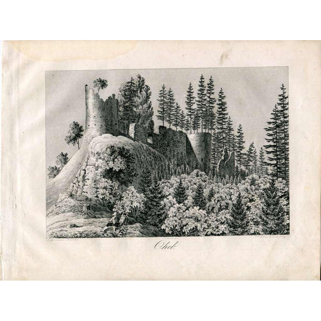 F. A. Heber – Hrad Oheb, Seč, Chrudim (České hrady, zámky a tvrze)
