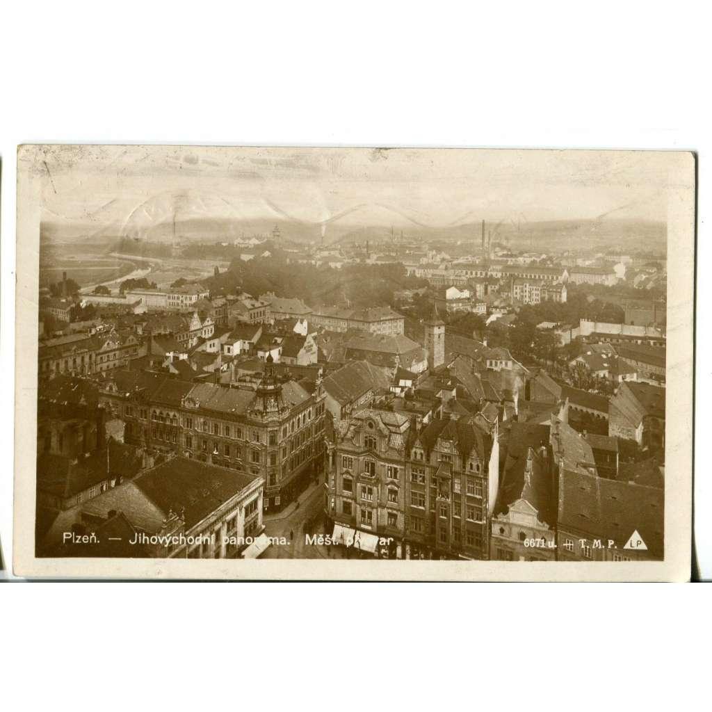 Plzeň, pohled z věže, směr pivovar, Lobzy a Doubravka