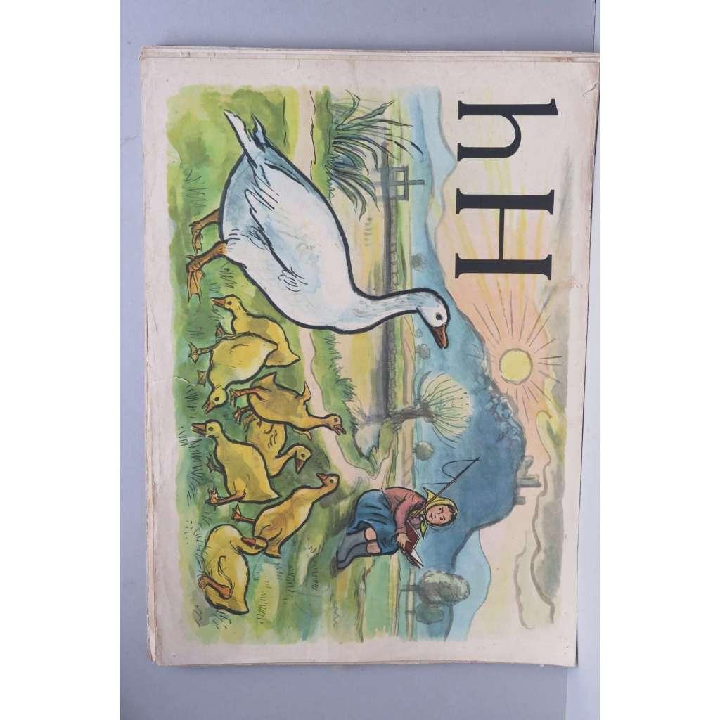 Živá abeceda - písmeno H - husa - školní plakát