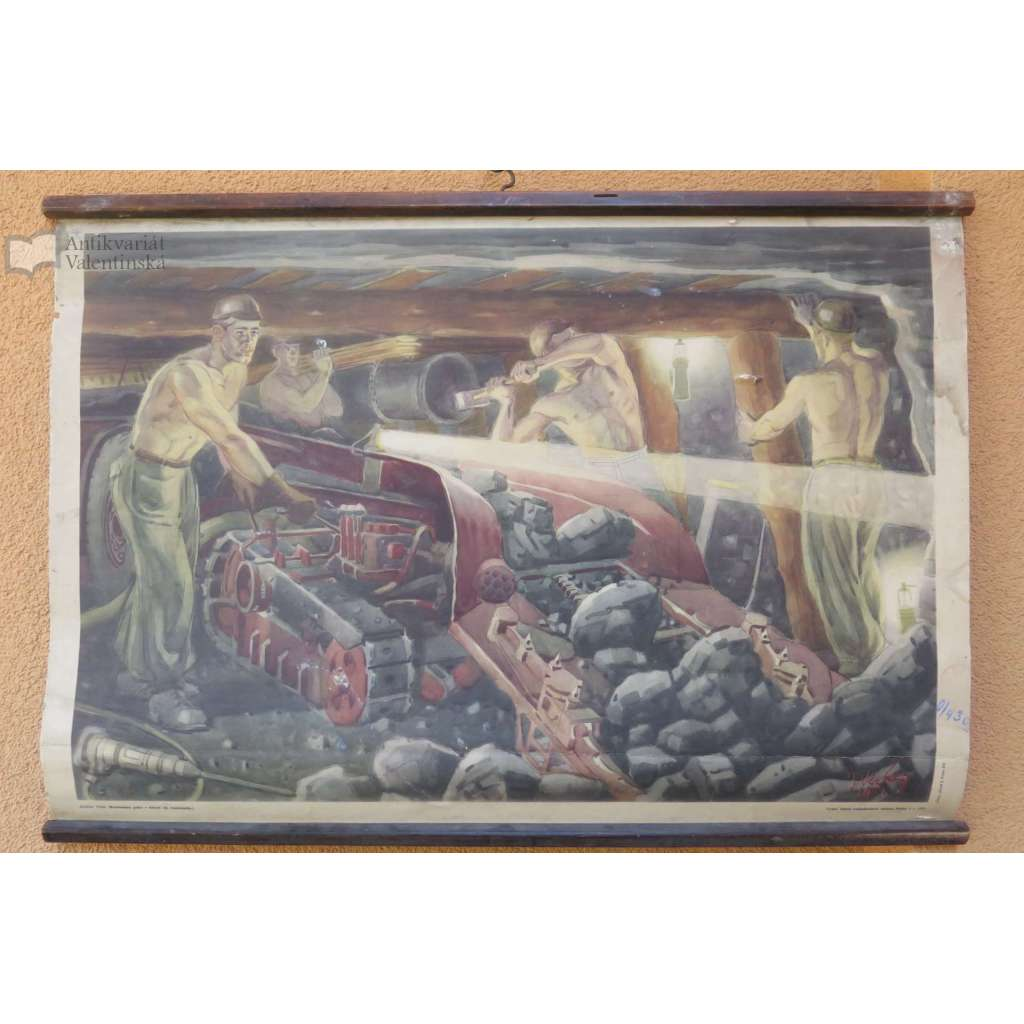 Mechanizace práce vdolech - nakádačka - horníci - školní plakát