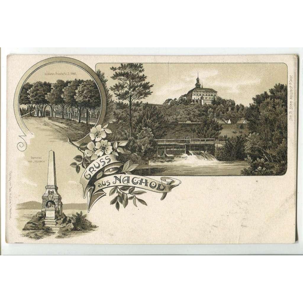 Náchod, pomník 1866, litografie