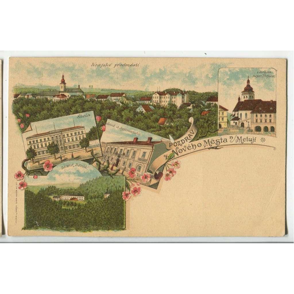 Nové Město nad Metují, Náchod, litografie