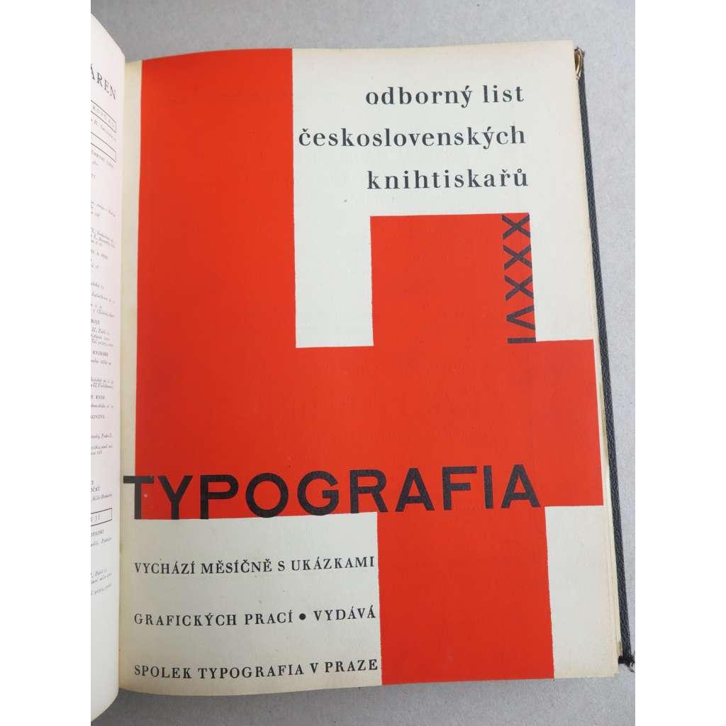 Typografia (+PŘÍLOHY). Ročník XXXVI. (36.) - 1929. Odborný list československých knihtiskařů