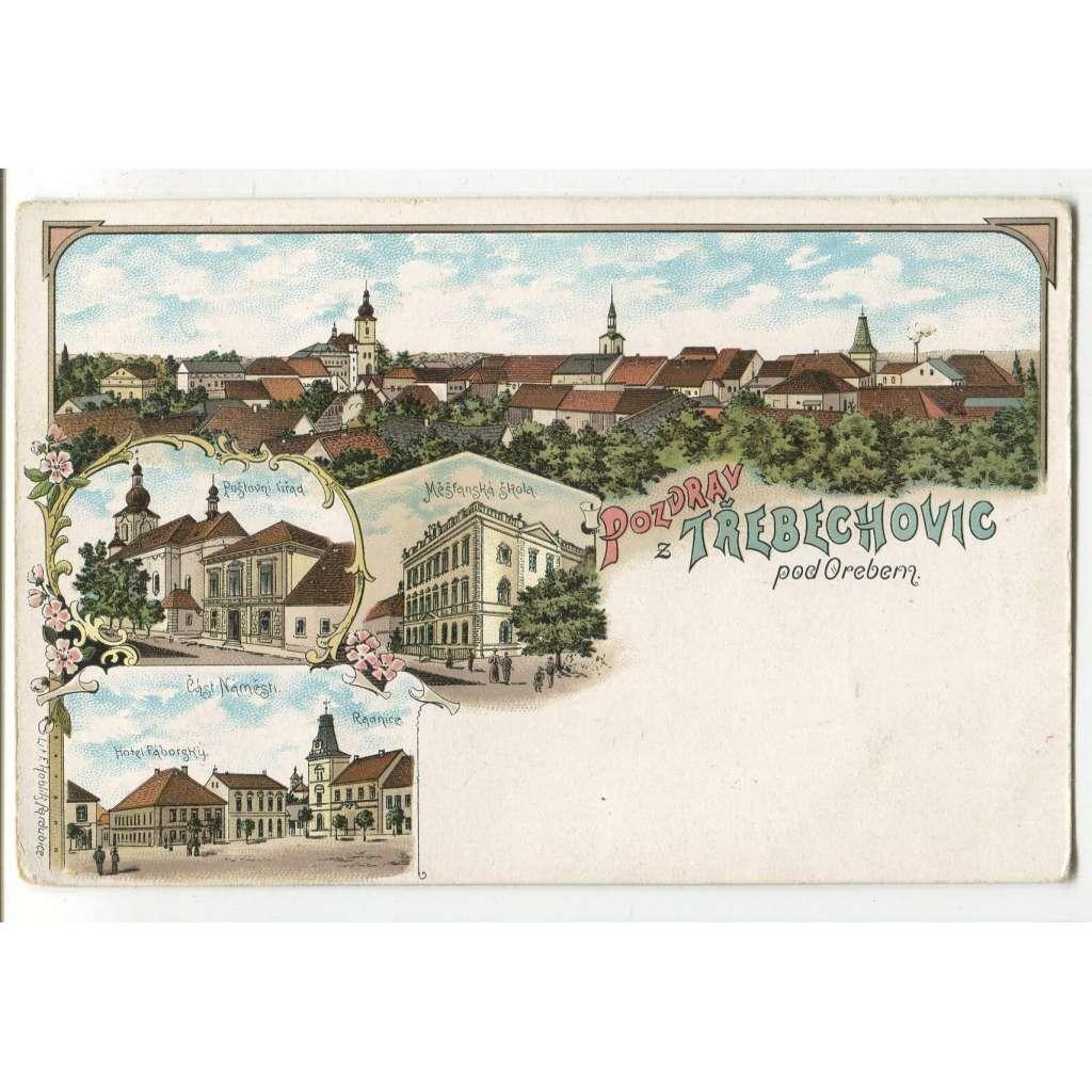 Třebechovice pod Orebem, Hradec Králové, litografie