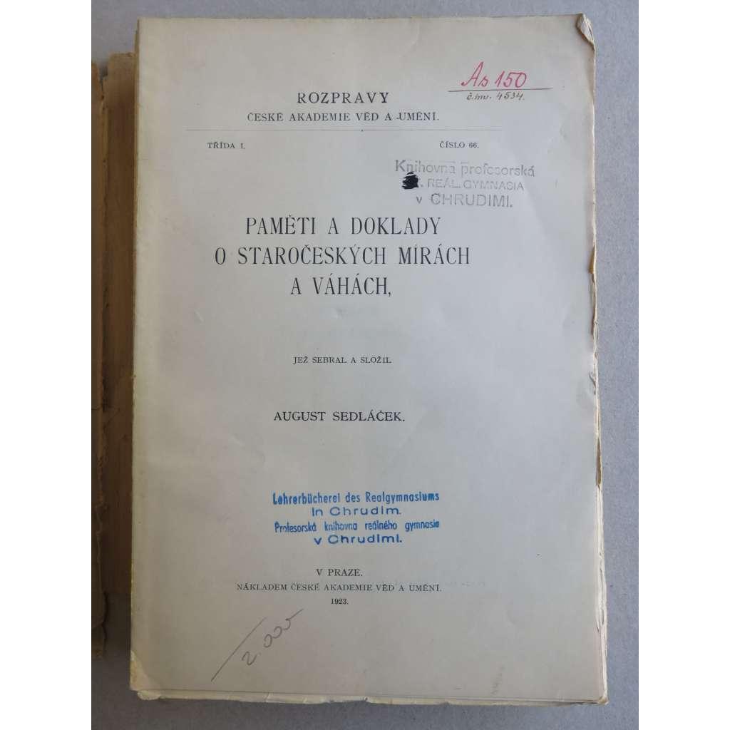 Paměti a doklady o staročeských mírách a váhách (1923)