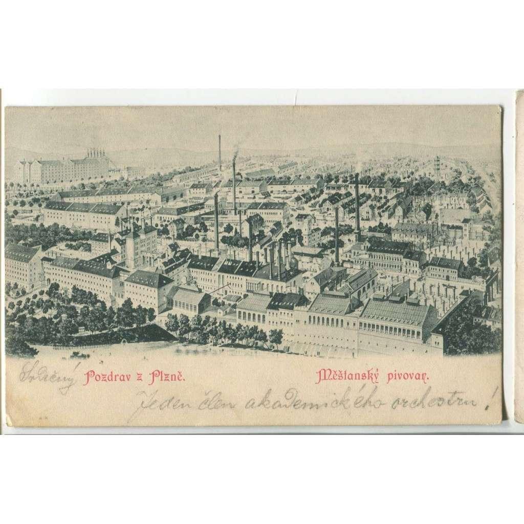 Plzeň, měšťanský pivovar, továrna