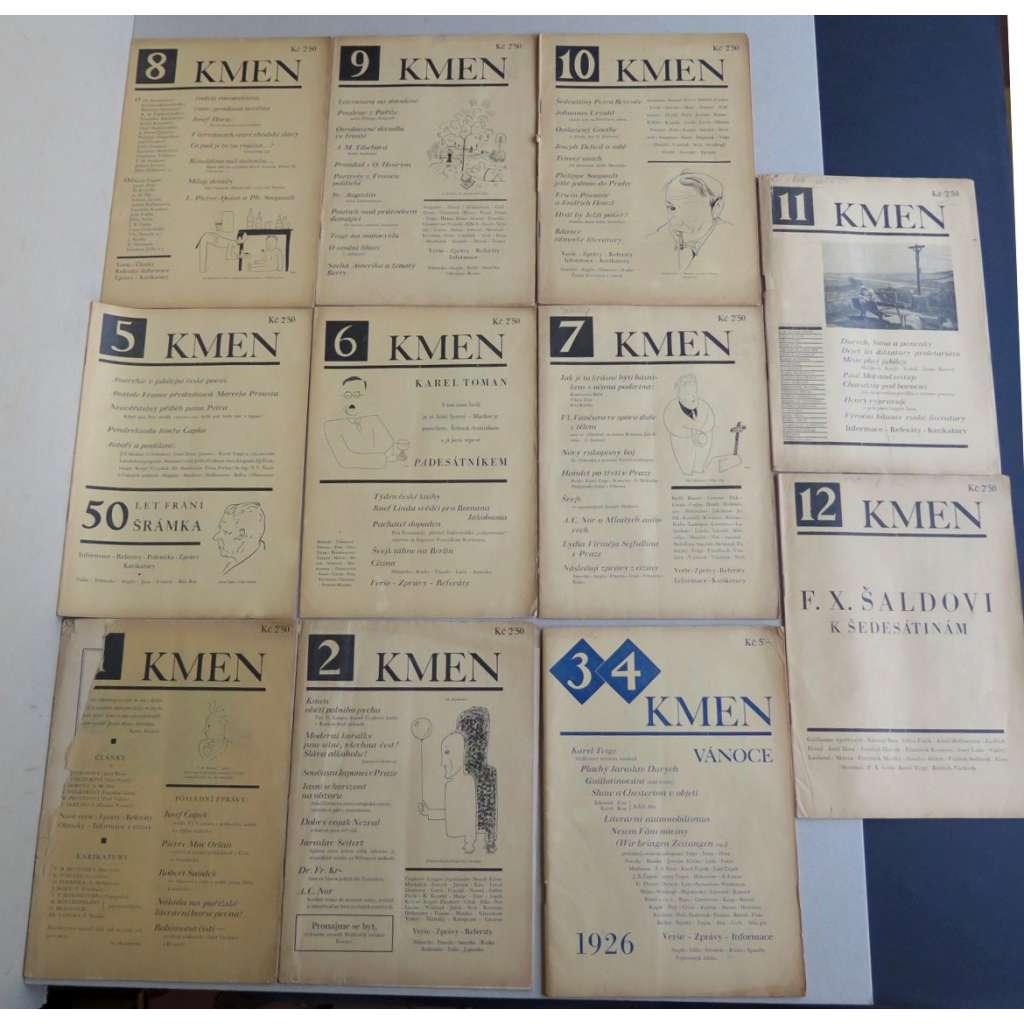 Kmen, časopis pro moderní literaturu - roč. 1., 1927 - (1-12 sešity s obálkami)