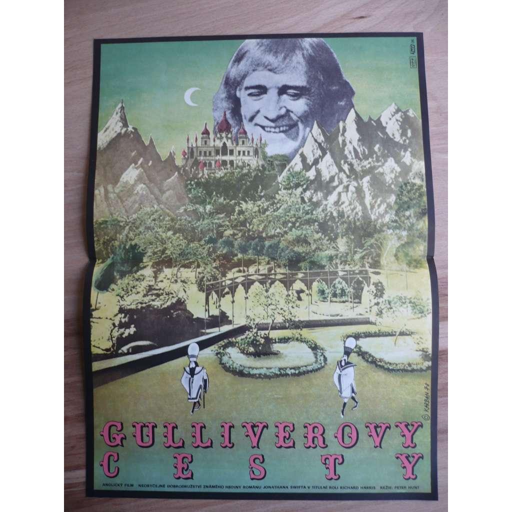 Gulliverovy cesty (filmový plakát, film Velká Británie 1977, režie Peter R. Hunt, Hrají: Richard Harris, Bessie Love, Julian Glover)