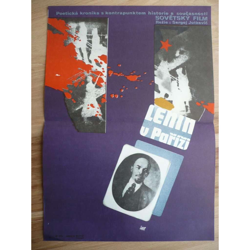 Lenin v Paříži (filmový plakát, film SSSR 1981, režie Sergej Jutkevič, Hrají: Claude Jade, Pavel Kadočnikov, Antonina Maximova)