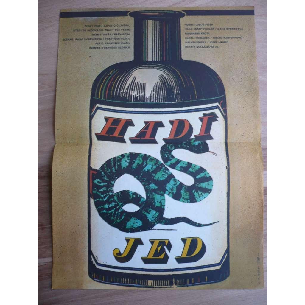 Hadí jed (filmový plakát, film ČSSR 1981, režie František Vláčil, Hrají: Ilona Svobodová, Josef Vinklář, Karel Heřmánek)