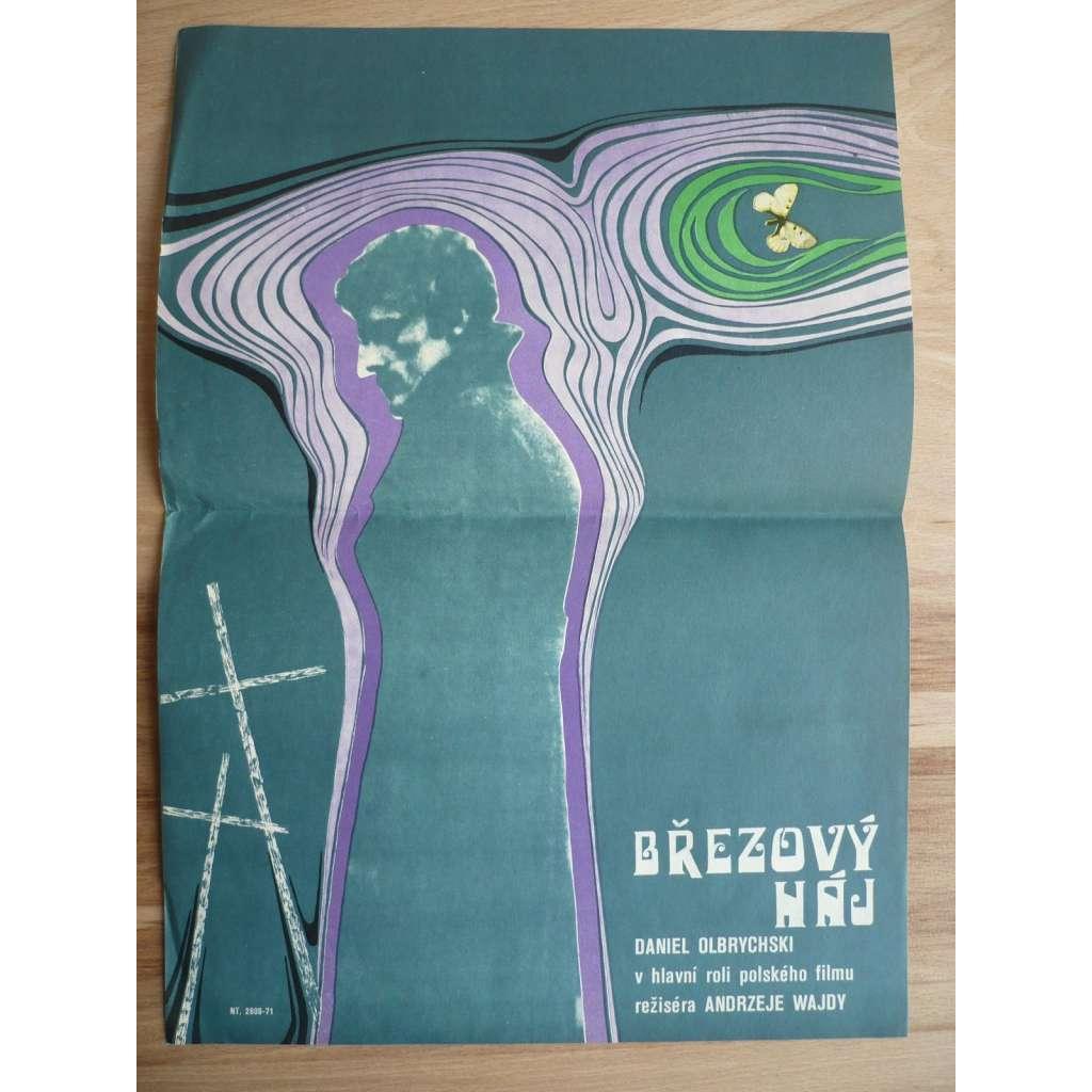 Březový háj (filmový plakát, film Polsko 1970, režie Andrzej Wajda, Hrají: Olgierd Łukaszewicz, Daniel Olbrychski, Emilia Krakowska)