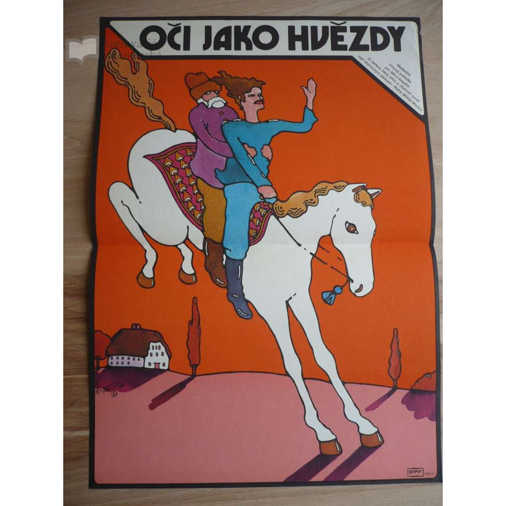 Oči jako hvězdy (filmový plakát, film Maďarsko 1977, režie Miklós Markos, Hrají: Juraj Ďurdiak, József Madaras, Irén Bordán)