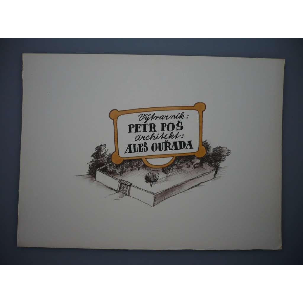 Výtvarník: Petr Poš, Architekt: Aleš Ouřada (Petr Poš , originál akvarel, televizní titulky, razítko ČST)