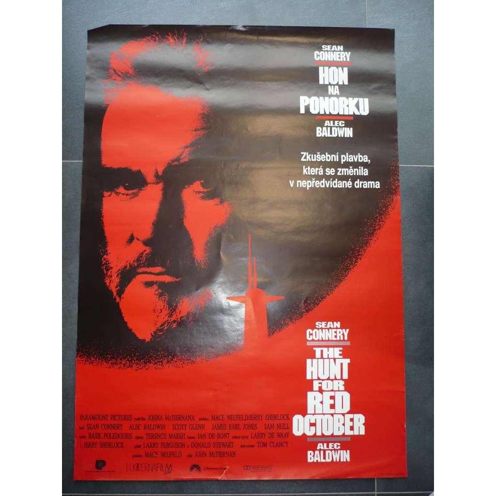 Hon na ponorku (filmový plakát, film USA 1990, režie John McTiernan, Hrají: Sean Connery, Alec Baldwin, Scott Glenn)