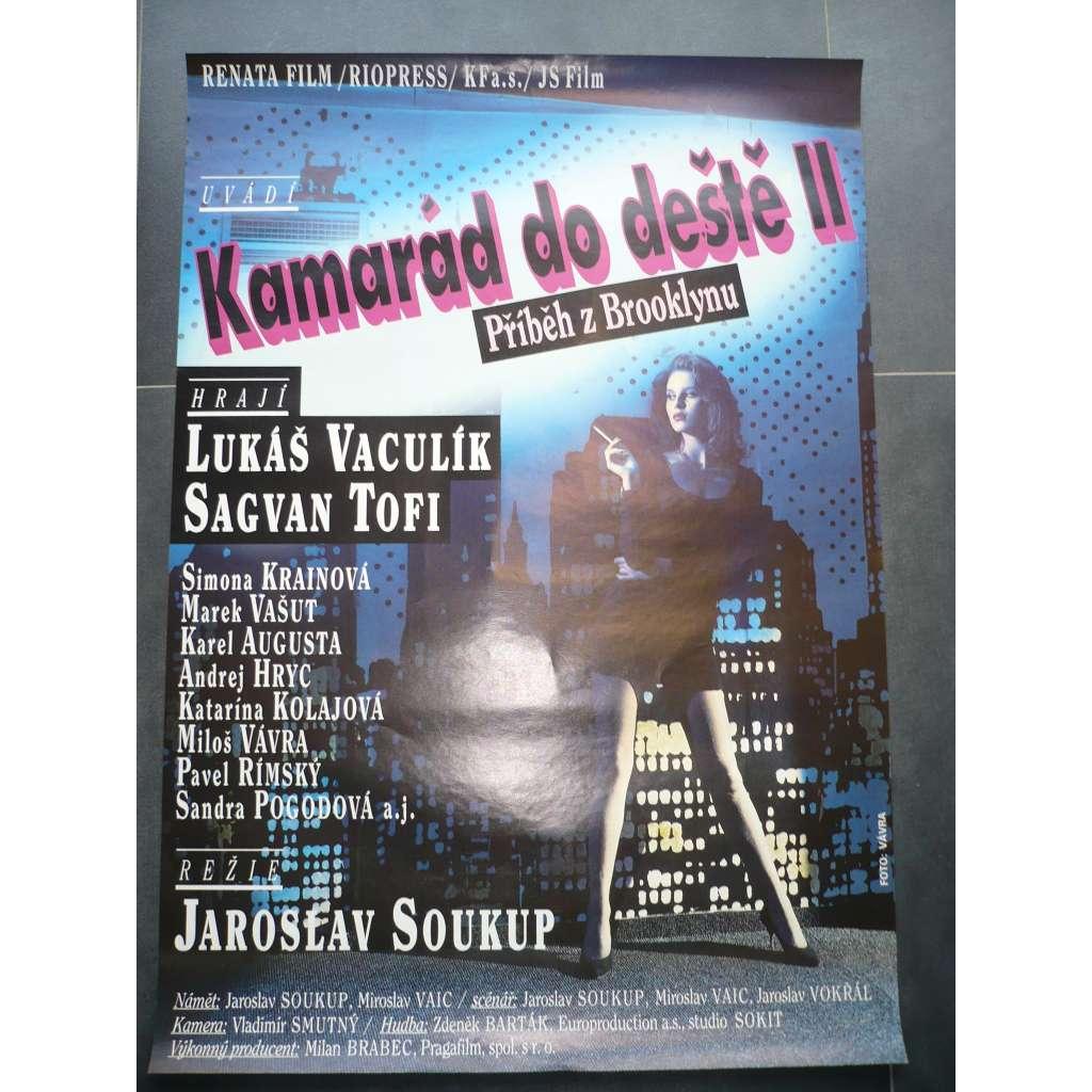 Kamarád do deště II - Příběh z Brooklynu (filmový plakát, film ČSSR 1992, režie Jaroslav Soukup, Hrají: Lukáš Vaculík, Sagvan Tofi, Simona Krainová)