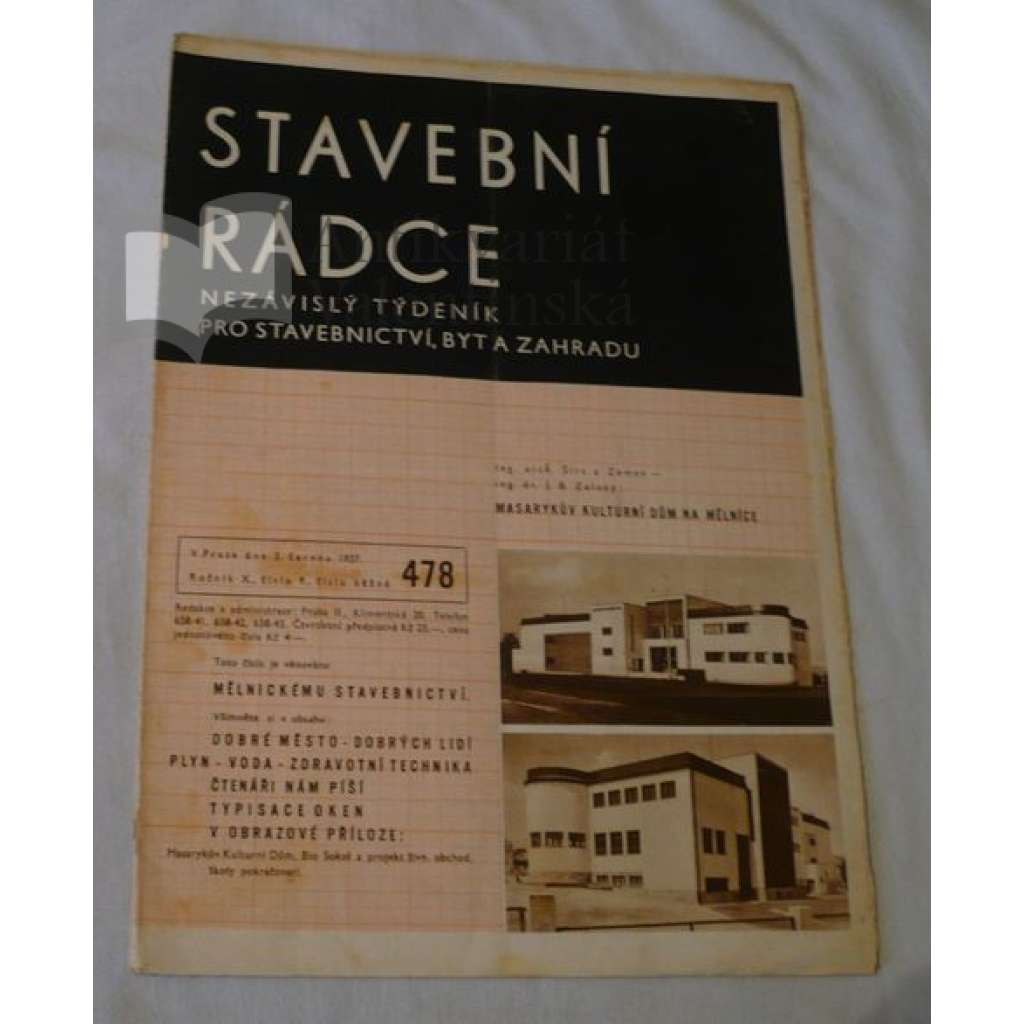 Stavební rádce 1937, roč.X., č.9., č.běžné 478