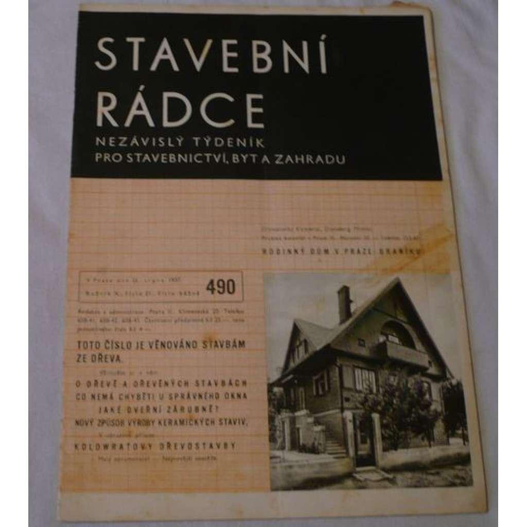 Stavební rádce 1937, roč.X., č.21., č.běžné 490