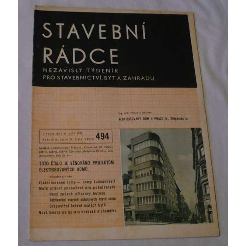 Stavební rádce 1937, roč.X., č.25., č.běžné 494