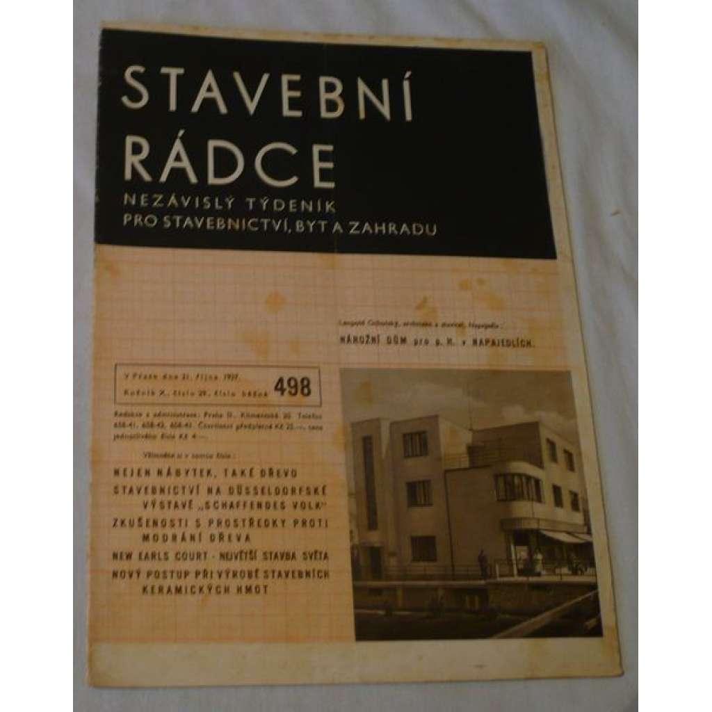 Stavební rádce 1937, roč.X., č.29., č.běžné 498