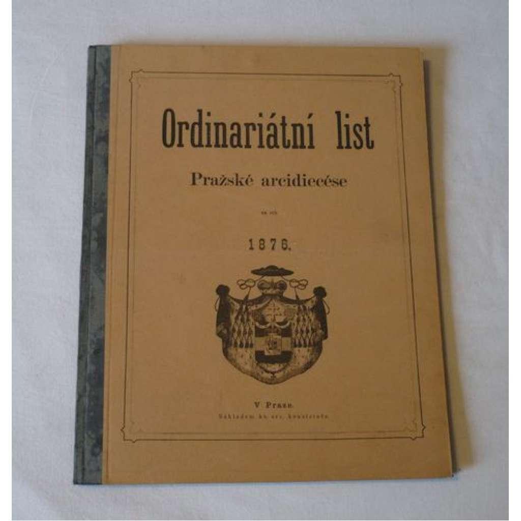 Ordinariátní list na rok 1876