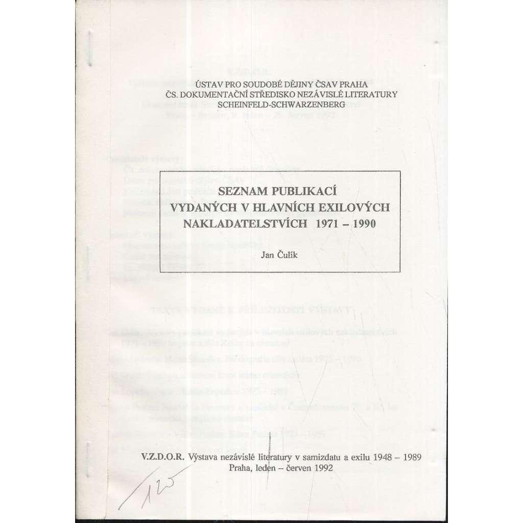 Seznam publikací vydaných v hlavních exilových nakladatelstvích 1971-1990