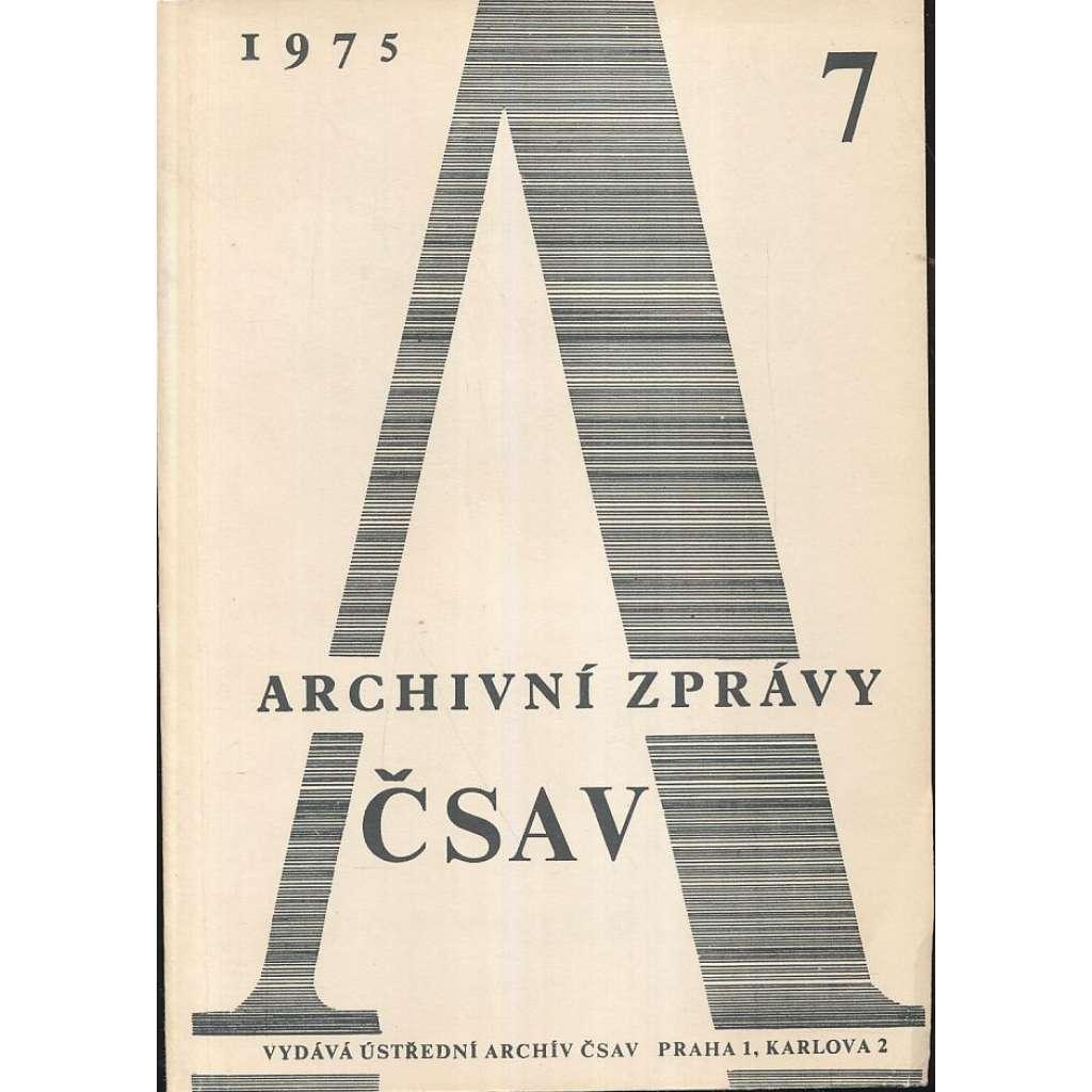 Archivní zprávy ČSAV, 1975/7