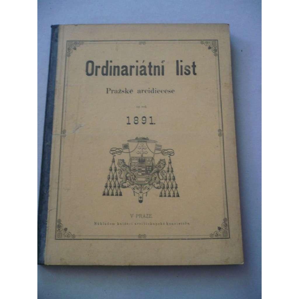 Ordinariátní list na rok 1891