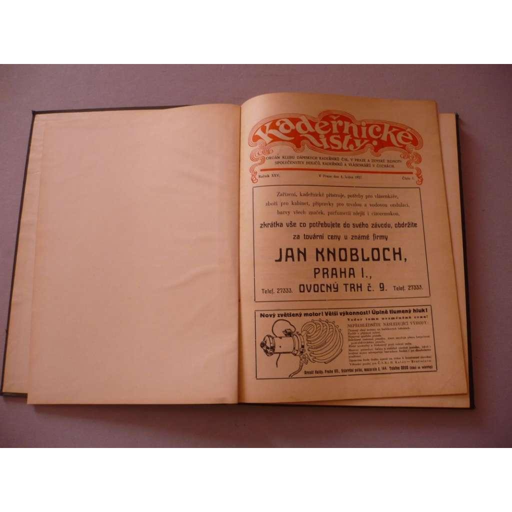 Kadeřnické listy, roč. XXV. (1937) - (kadeřnictví, móda)