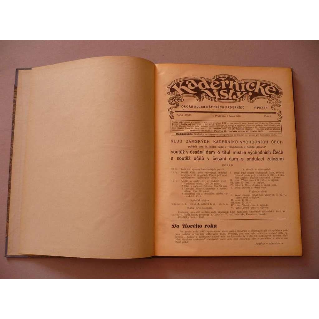 Kadeřnické listy, roč. XXVIII. (1940) - (kadeřnictví, móda)
