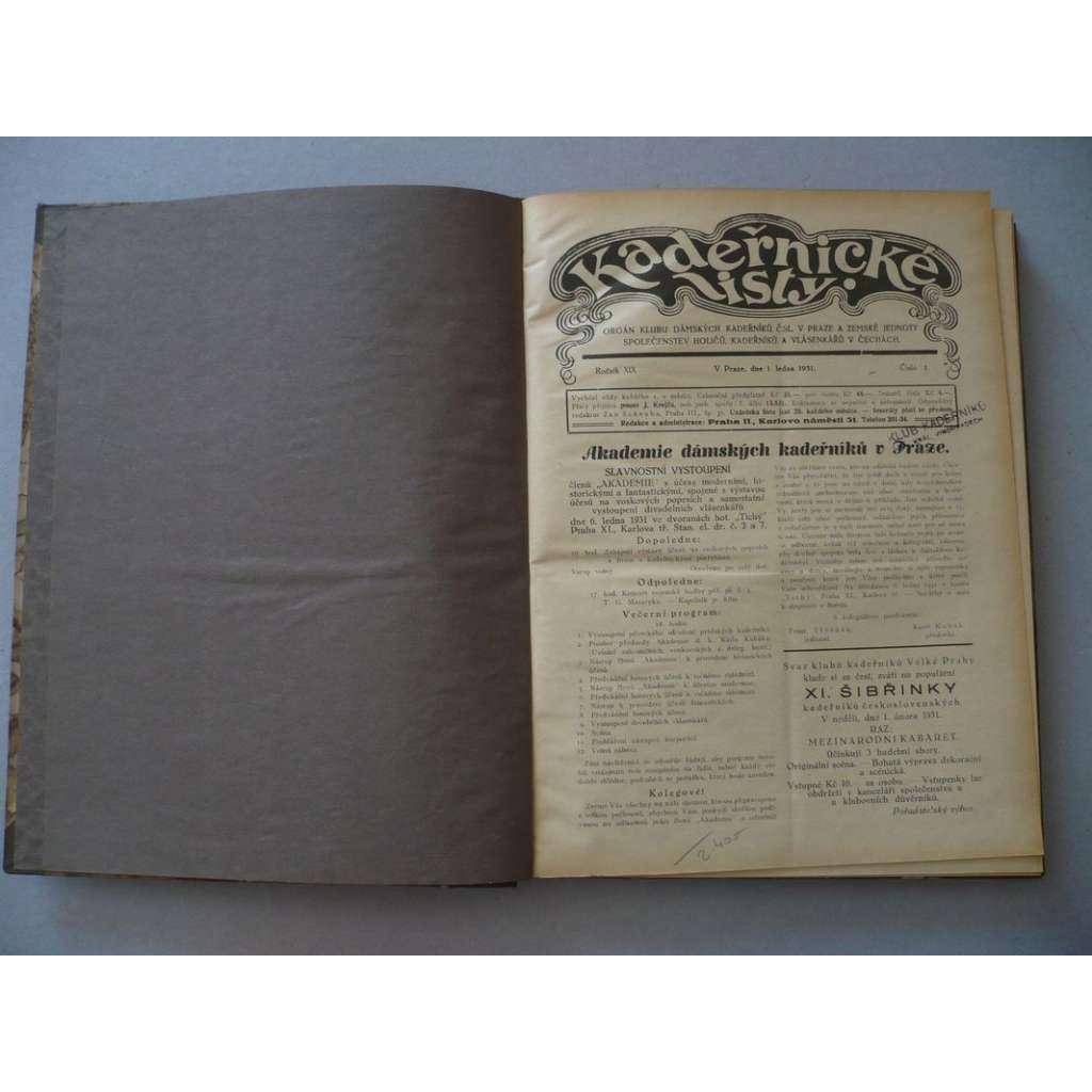 Kadeřnické listy, roč. XIX.(1931) - (kadeřnictví, móda)