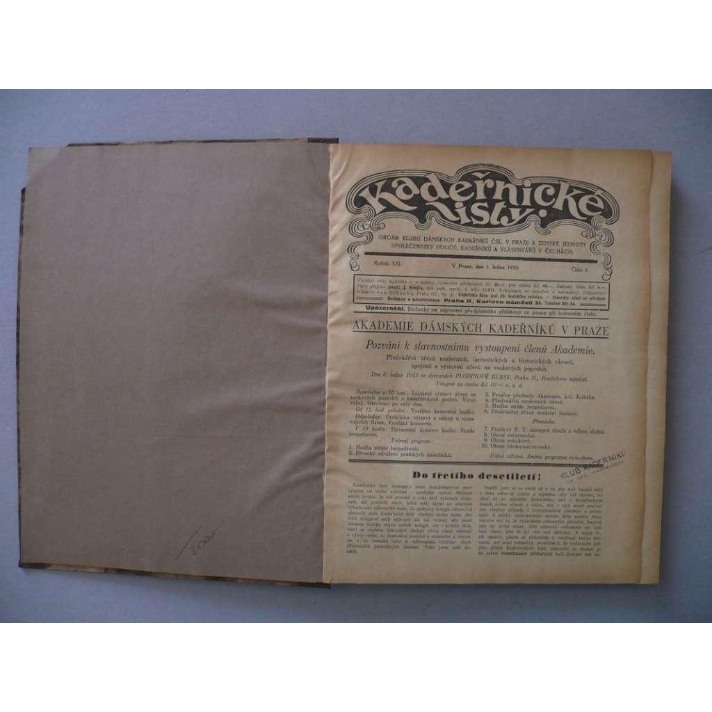 Kadeřnické listy, roč. XXI.(1933) - (kadeřnictví, móda)