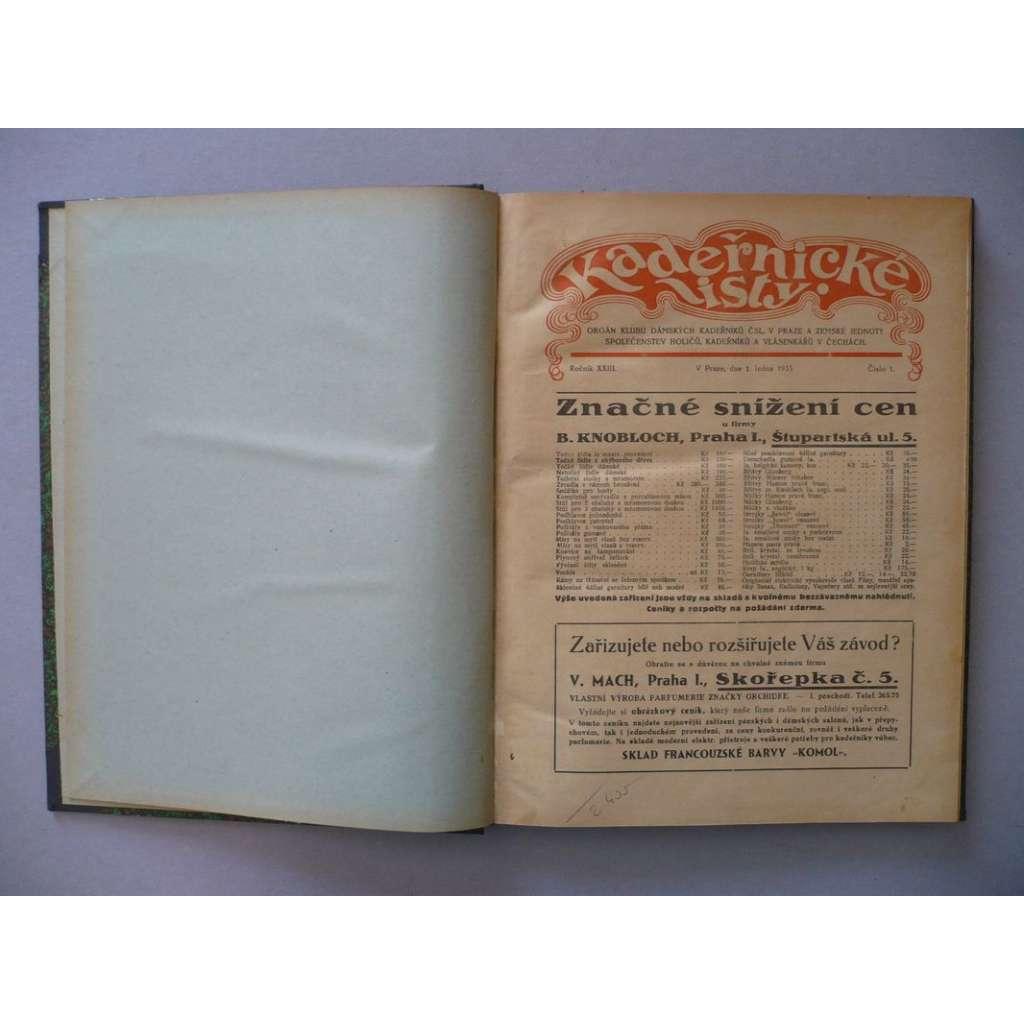 Kadeřnické listy, roč. XXIII.(1935) - (kadeřnictví, móda)