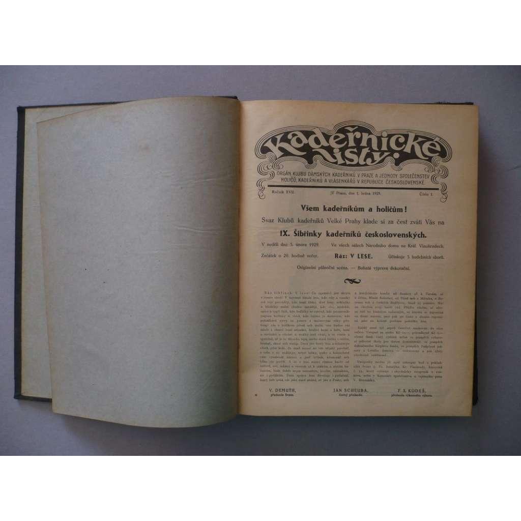 Kadeřnické listy, roč. XVII., XVIII. (1930,1931) - (kadeřnictví, móda)