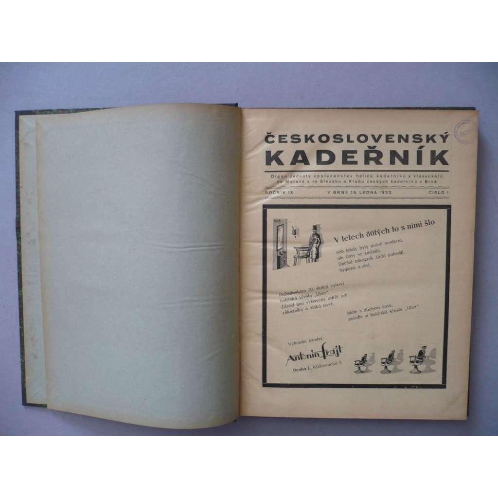 Československý kadeřník, roč. IX. (1932) - (kadeřnictví, móda)