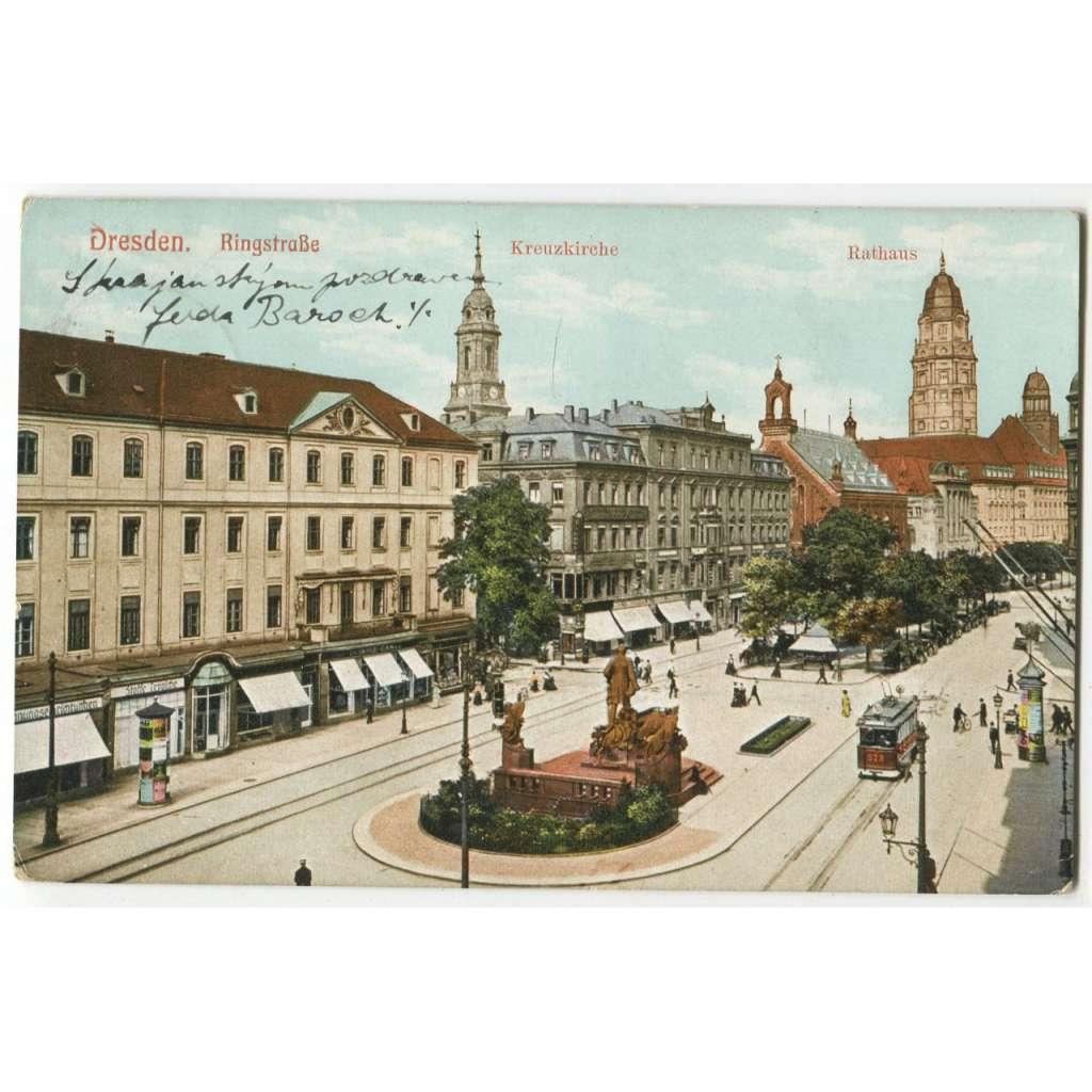 Dresden, Drážďany, tramvaj,  Německo, Deutschland Germany