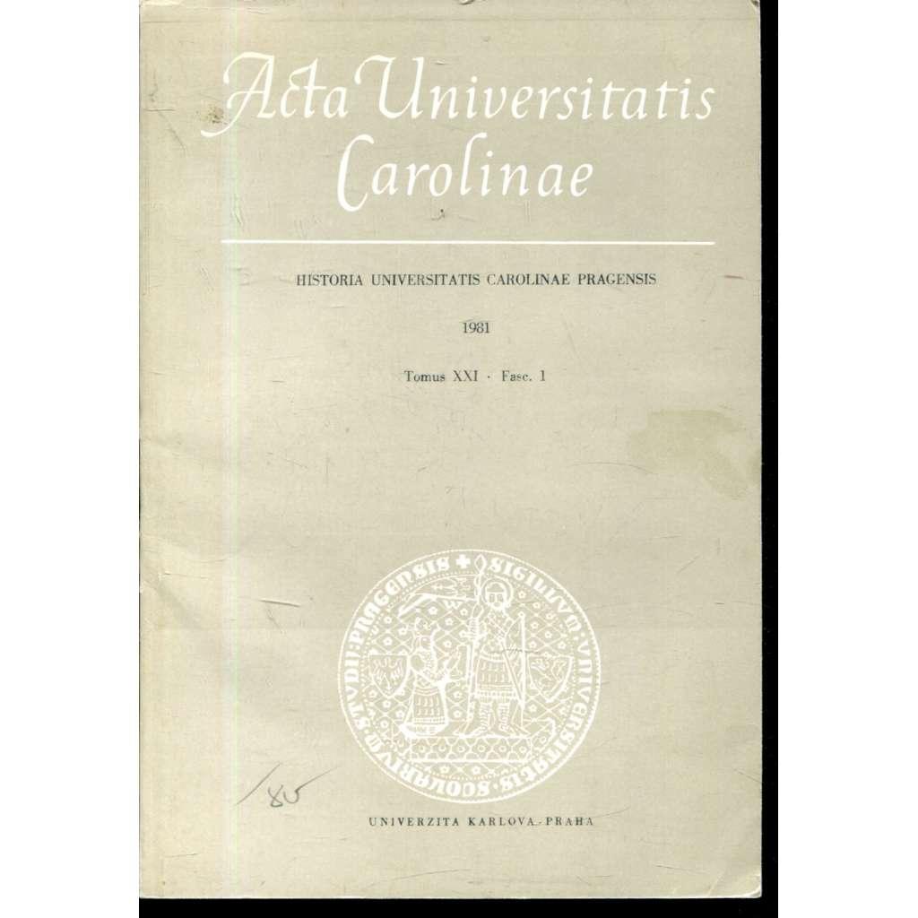 Historia Universitatis Carolinae Pragensis, XXI/1, 1981