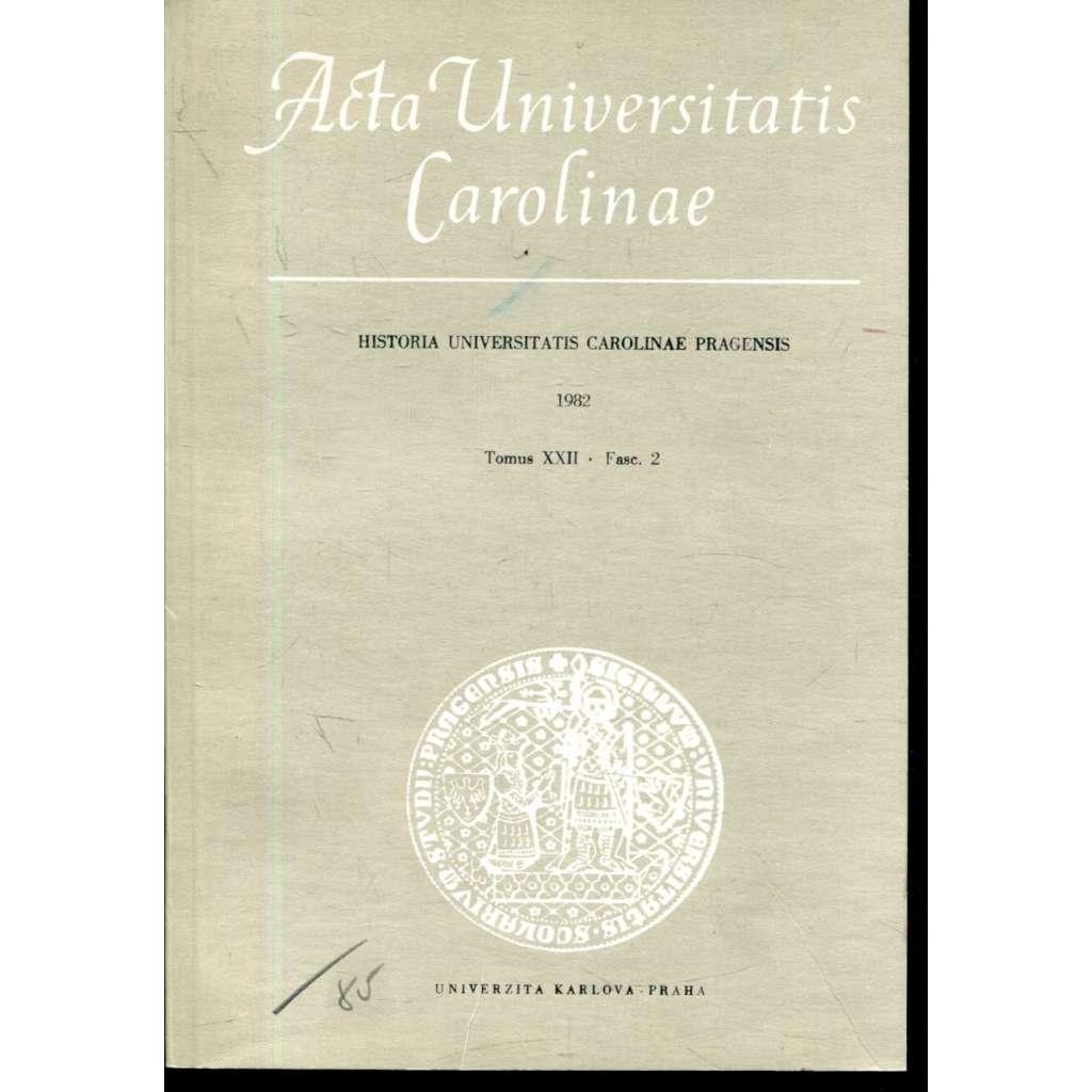 Historia Universitatis Carolinae Pragensis, XXII/2, 1982