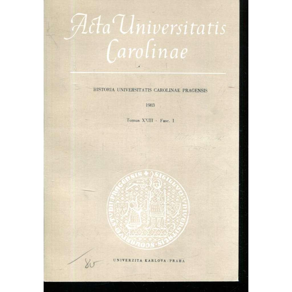 Historia Universitatis Carolinae Pragensis, XXIII/1, 1983