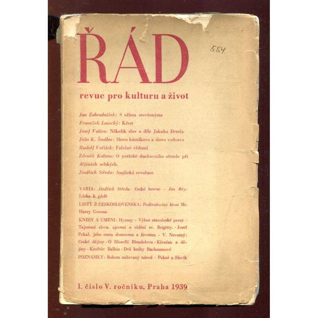 Řád: Revue pro kulturu a život. 1/1939 (roč. V.)