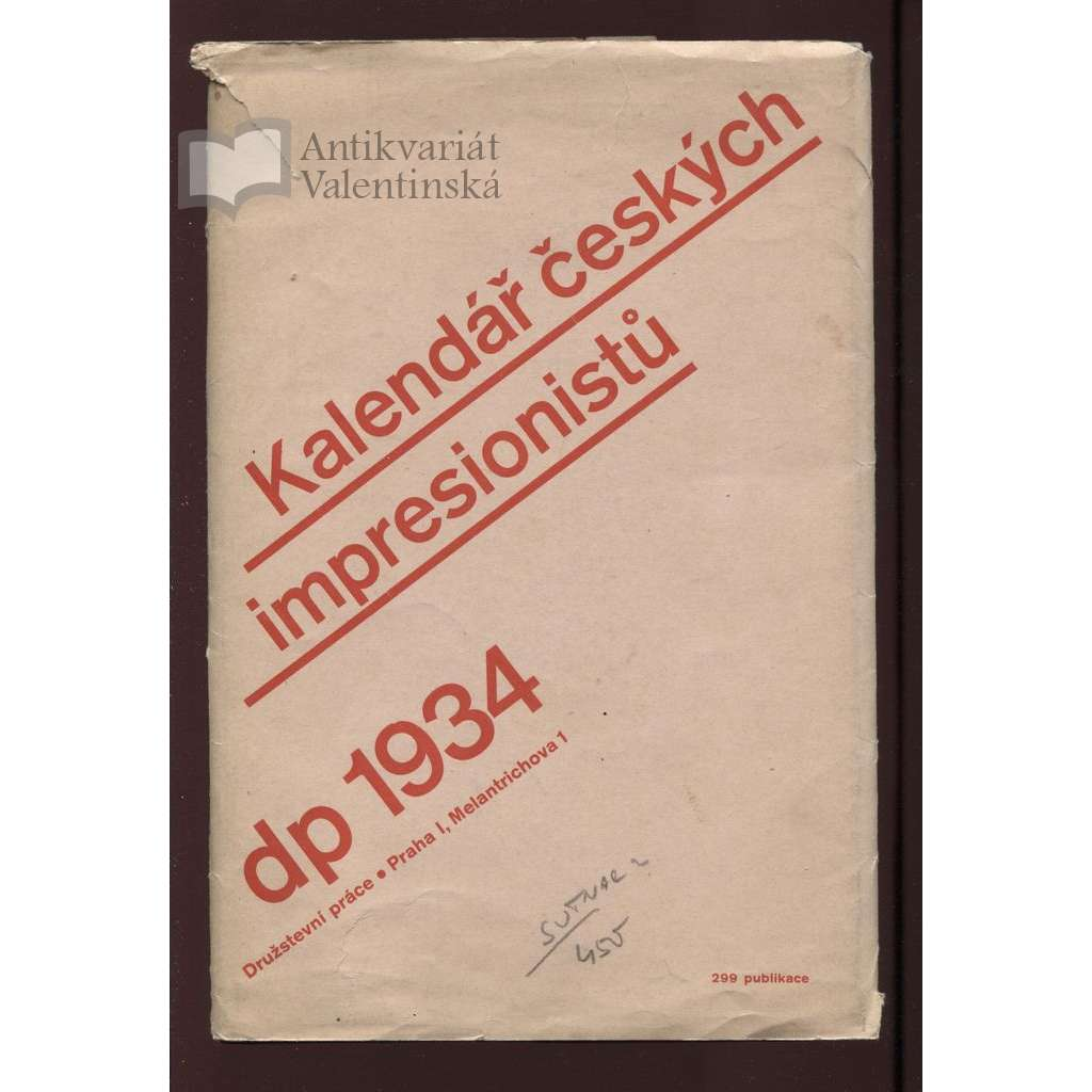 Kalendář českých impresionistů, 1934 (typo zřejmě L. Sutnar)