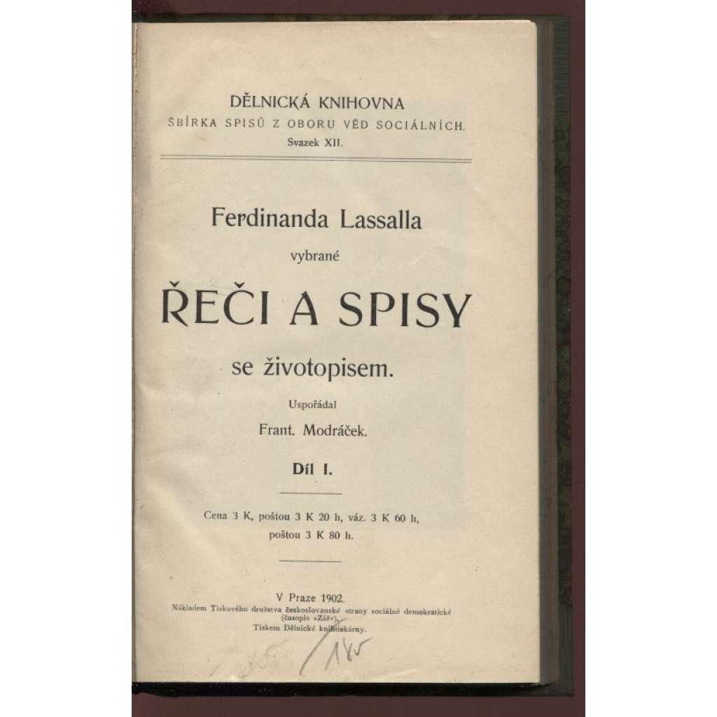 Ferdinanda Lassalla vybrané Řeči a spisy se životopisem, díl I.