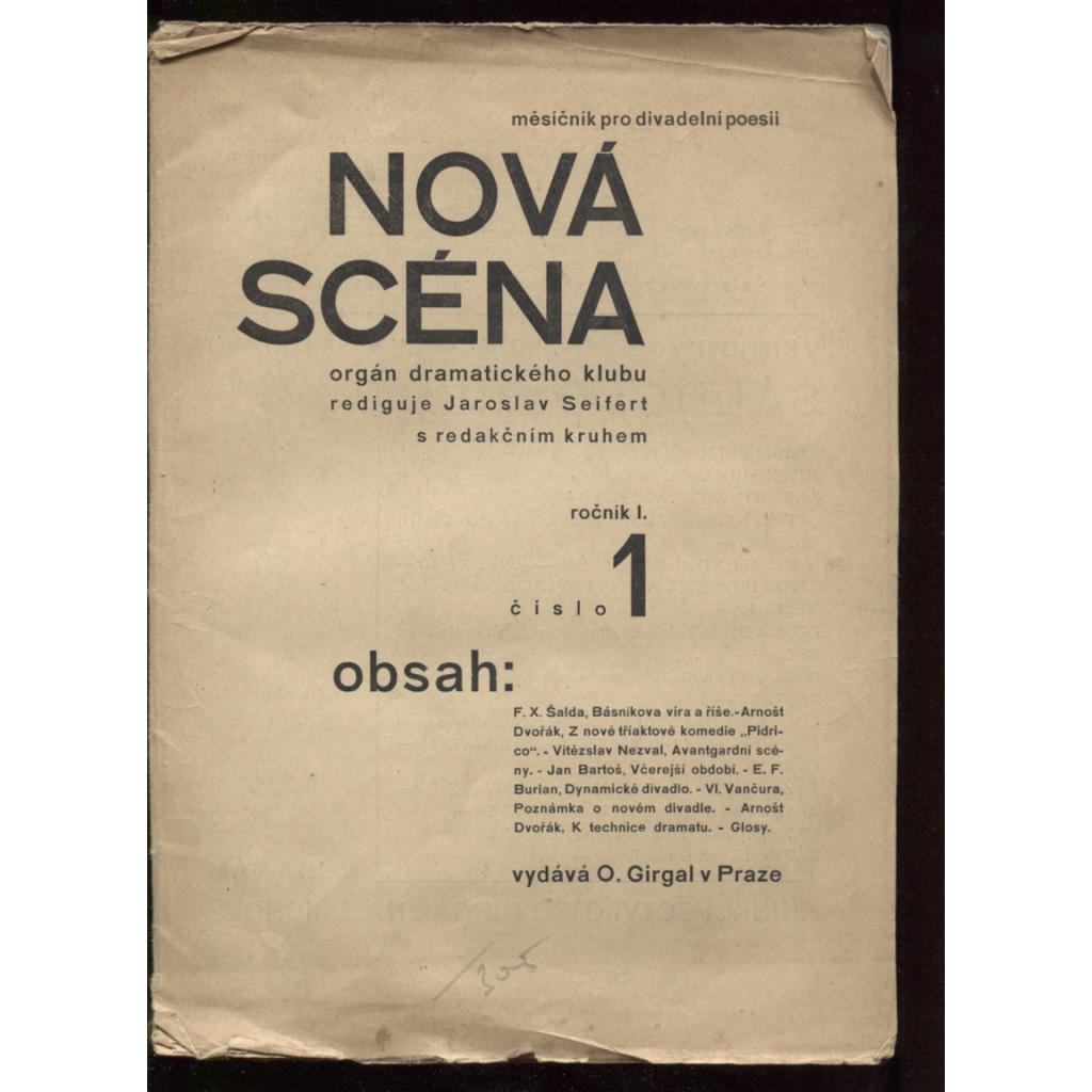 Nová scéna, měsíčník pro divadelní poesii (orgán dramatického klubu), roč. I., číslo 1