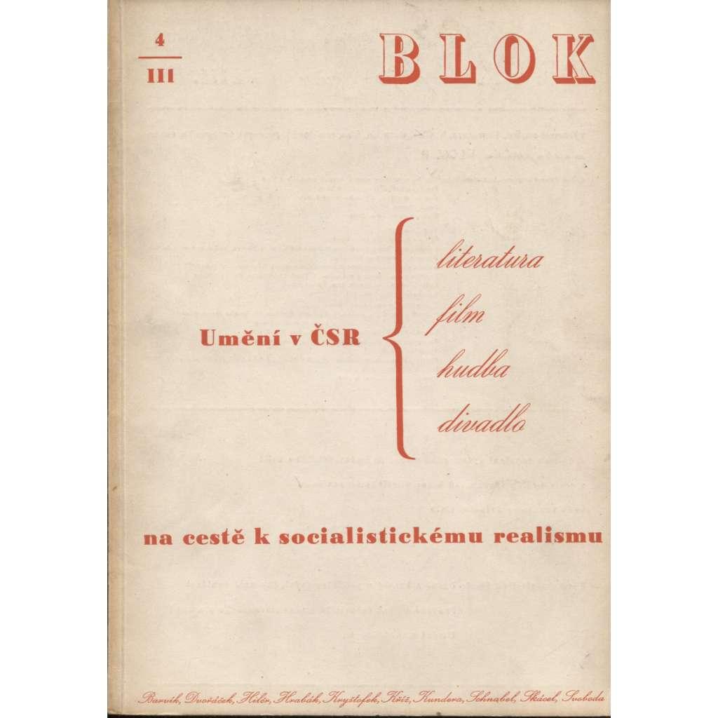 Blok - časopis pro umění, roč. III., číslo 4/1949. Umění v ČSR