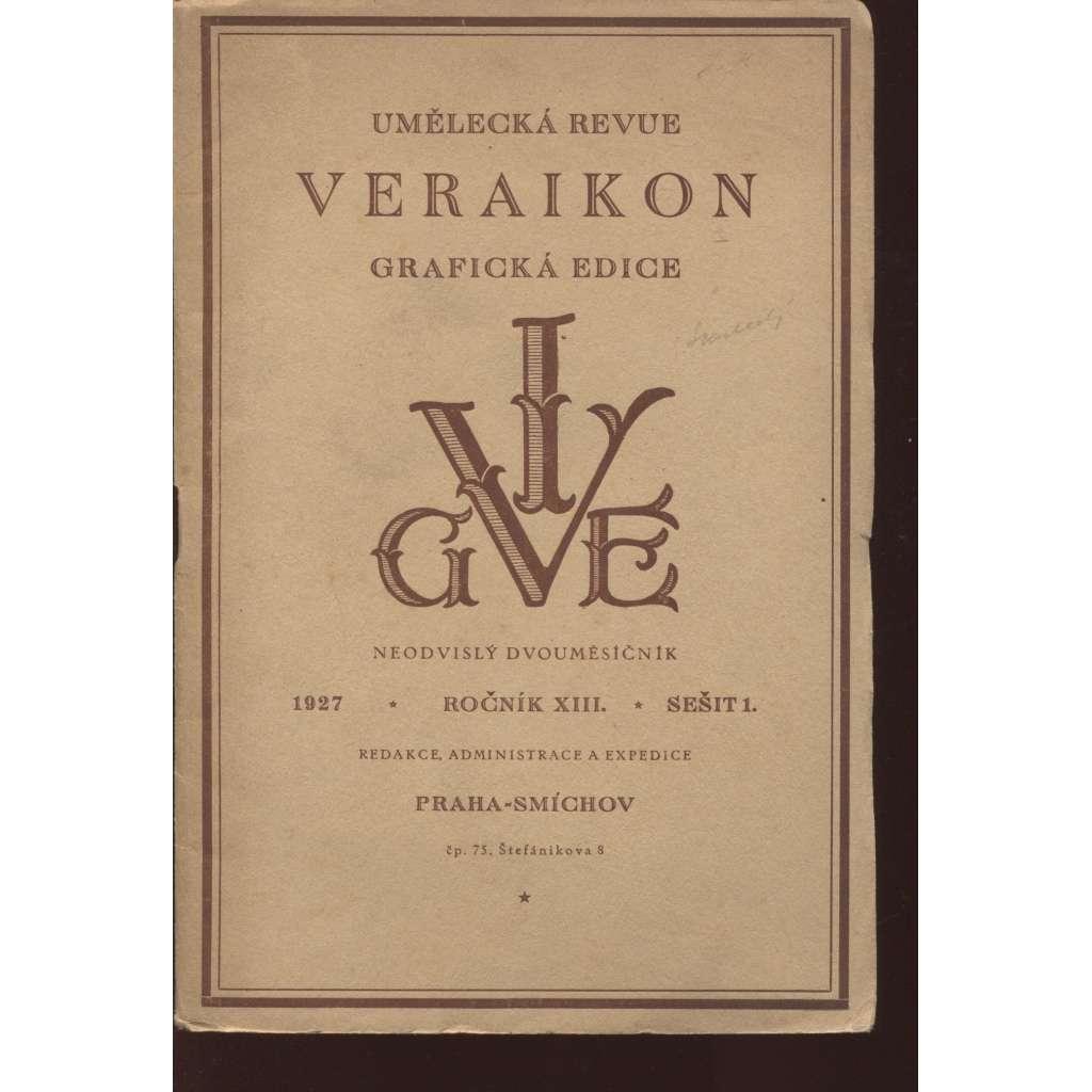 Veraikon, sešit 1., roč. XIII./1927 (Umělecká revue)