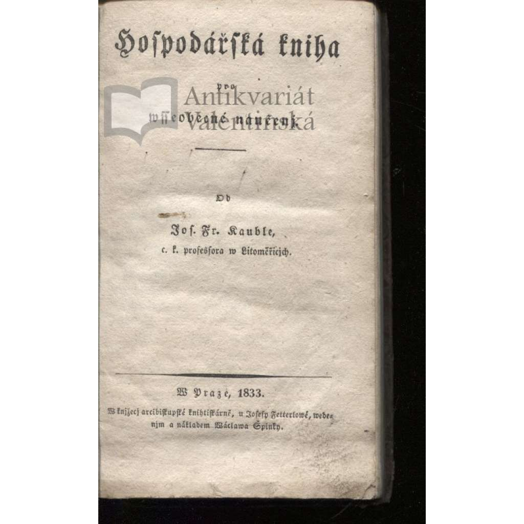 Hospodářská kniha pro všeobecné naučení (1833)
