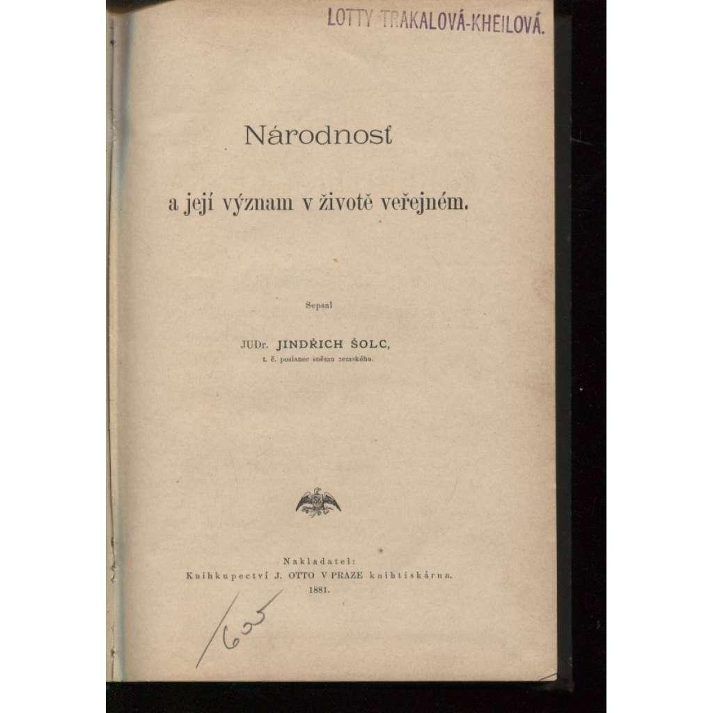 Národnosť a její význam v životě veřejném (1881)