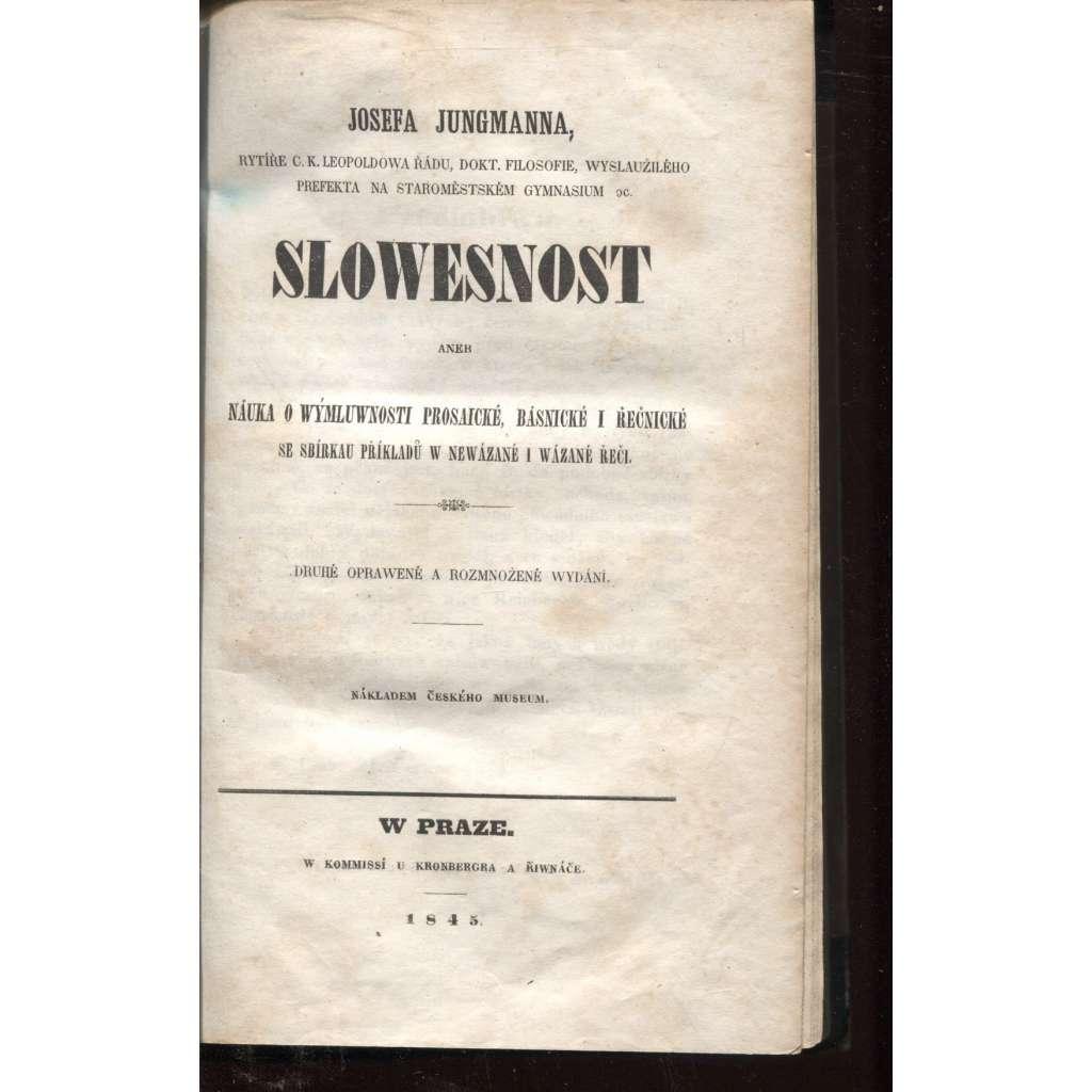 Slowesnost (Slovesnost), II. vydání (1845)