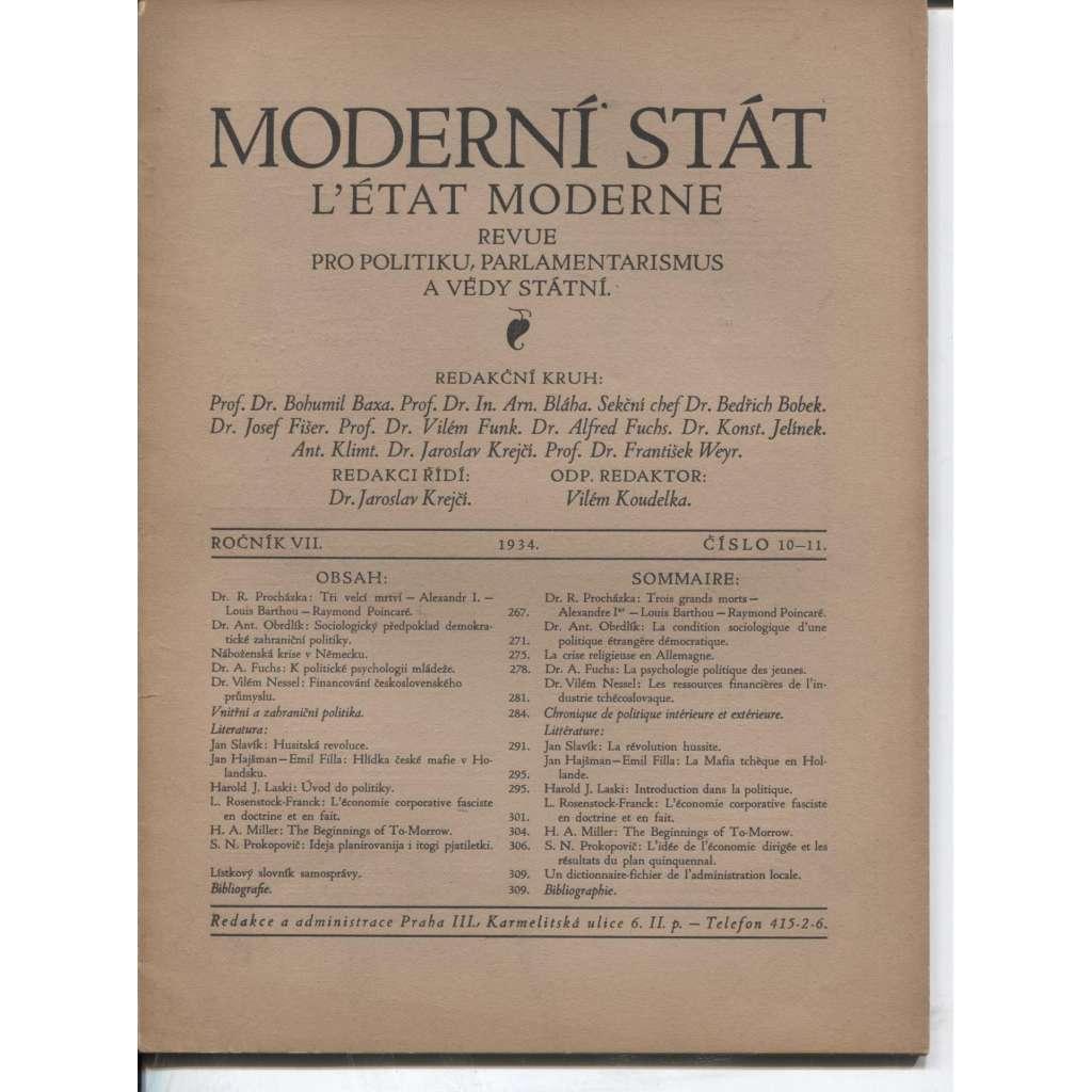 Moderní stát, ročník VII, číslo 10-11/1934. Revue pro politiku, parlamentarismus a vědy státní