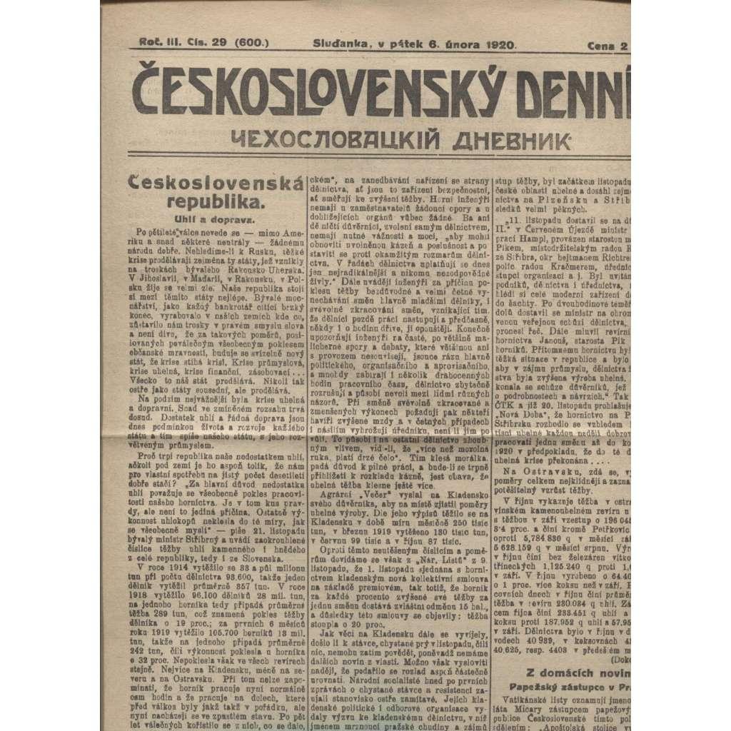 Československý denník roč. III, č. 29. Sluďanka, 1920 (LEGIE, RUSKO, LEGIONÁŘI)