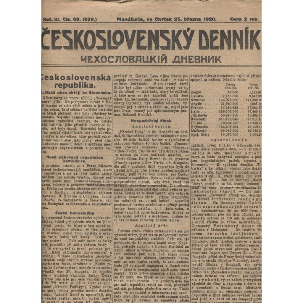 Československý denník roč. III, č. 68. Mandžuria, 1920 (LEGIE, RUSKO, LEGIONÁŘI)
